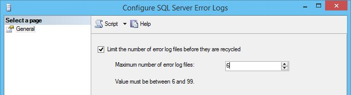 Configure SQL Server Error Logs